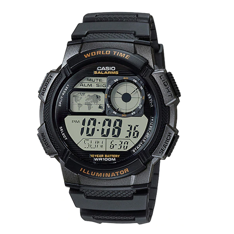 Jam Tangan  Casio  Water Resistance 100M Black Resin Band