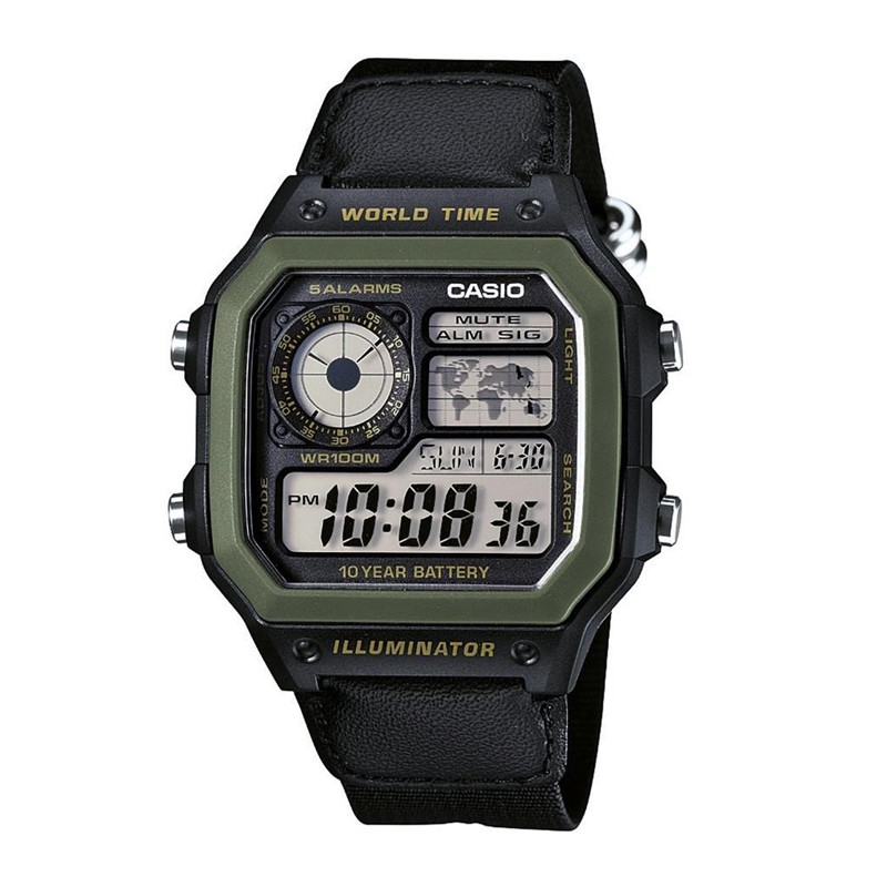 Jam Tangan  Casio Water Resistant 100M Nylon Band Digital Watches